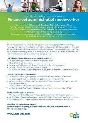 ODS vacature financieel administratief medewerker